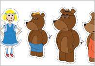 Goldilocks stick puppets with scenes for fairy tale program - make rolling scenery in box puppet stage. Nursery Rhymes Preschool, Preschool Literacy, Kindergarten, Fairy Tale Crafts, Fairy Tale Theme, Traditional Tales, Traditional Stories, Fairy Tale Activities, Activities For Kids