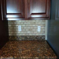 Travertine back splash Tile Installation, Carpet Tiles, Travertine, Backsplash, Tile Floor, Hardwood, Kitchen Cabinets, Home Decor, Natural Wood