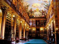 Strahov Library, Prague - situated within the Strahov Monastery, near Prague Castle. It is a seat of the Premonstratensian Order since the 12th century. It is one of the most famous historical buildings in Prague.