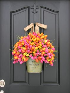 Spring Tulips - Farmhouse Tulips - Front Door Decor - Country French Home Decor - Shabby Chic Collection - Wreaths. $110.00, via Etsy.