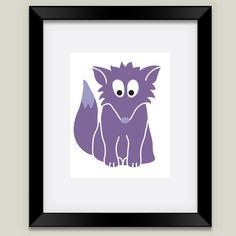 Fun Indie Art from BoomBoomPrints.com! https://www.boomboomprints.com/Product/calicoelephant/Purple_Fox/Framed_Art_Prints/White_Mat_-_Black_Frame/