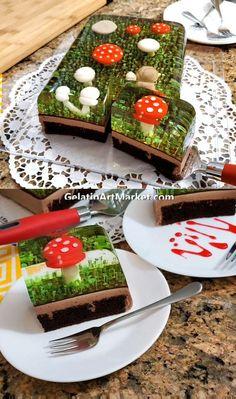 Mushroom Cake, Mexican Food Recipes, Dessert Recipes, Cake Recipes, Jelly Desserts, Jelly Fruit, Fancy Desserts, Gourmet Desserts, Summer Desserts