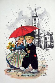 Postcard - Dutch girl and boy under umbrella  i've got this one long- long ago #NoordHolland #Volendam