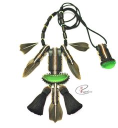 Sea Glass Jewelry by Cape Cod Jewelry Designer Ezartesa! Beaded Sea Glass Necklace in Green, Brown and Black Tiny Glass Seed Beads with natural feathers, leather, and hand made cotton tassels. Necklace is adjustable and reversible!