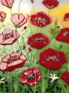 Fused glass poppy field - Great work!  Reserved Listing For Linda Fused Glass Painting Red by CDChilds
