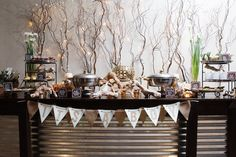 "Food Table from a ""My Little Cinnabun"" Rustic Glam Baby Shower via Kara's Party Ideas KarasPartyIdeas.com (14)"