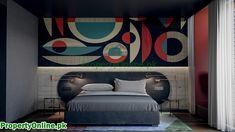 Colorful Bedroom Designs & Ideas Arty Bedroom, Bedroom Red, Feature Wall Bedroom, Bedroom Wall Colors, Cool Color Palette, Cool Bookshelves, Bench Decor, Elegant Homes, Cheap Home Decor