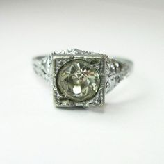 Vintage Solitaire Ring  Art Deco  Rhinestone  by WickedDarling, $57.00