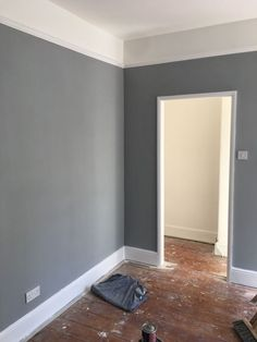 My almost complete front bedroom in Warm Pewter Complete with picture rail Picture Rail Bedroom, Dado Rail Bedroom, Diy Picture Rail, White Picture, Living Room Grey, Home Living Room, Interior Design Living Room, Living Room Designs, Interior Livingroom