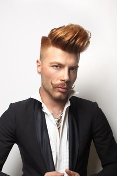 ~ SP Men Competition entry from ROMANIA, Salon Excentric. Look: Bold Masculinity. Moustache, Beard No Mustache, Quiff Haircut, Ginger Head, Hair And Beard Styles, Hair Styles, Mustache Styles, Hair Shows, Creative Hairstyles