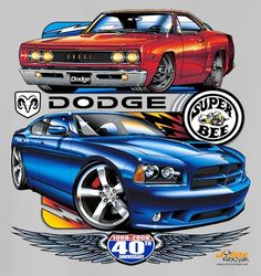 Mopar Muscle w/Dodge Charger and Super Bee 40th Anniversary on a New 3 XL Ash Tee Shirt: Dodge 2008 Charger and 1968 Super Bee for Mopar's 40th Anniversary on a new XXXL ash tee shirt.  It is a two sided print no longer available.  Have XL and XXL also....
