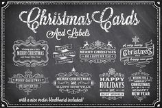 Christmas Vector Chalkboard Labels by FourLeafLover on @creativemarket