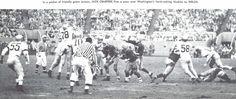Oregon quarterback Jack Crabtree throws a pass vs. Washington in 1957 at Multnomah Civic Stadium. From the 1958 Oregana (University of Oregon yearbook). www.CampusAttic.com