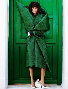 mykonos: mica arganaraz and rianne van rompaey by mario testino for vogue paris november 2015 | visual optimism; fashion editorials, shows, campaigns & more!