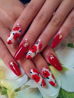 Red Floral Nails by Ayano