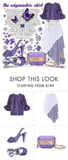 """""""60-Second Style: Opening Ceremon Asymmetric Skirt"""" by lucky-ruby ❤ liked on Polyvore featuring Whiteley, Roksanda, Opening Ceremony, Flavio Castellani, Moschino, Maison Mayle, purple, lilac and 60secondstyle"""