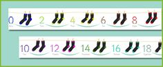 Here's a number line for counting by 2s using pairs of socks.