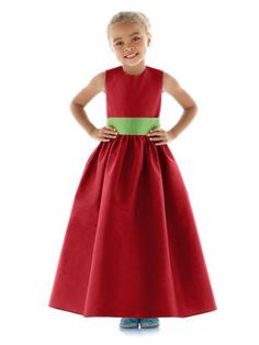 Red Flower Girl Dress (with white sash)