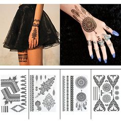 Black Henna Body Paints Temporary Tattoo Stickers Designs for Women Girls (Pack of 4 Sheets) >>> Check this awesome product by going to the link at the image. (This is an affiliate link) #HennaBodyPaint