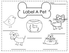 Kids and pet dogs. Color and label. http://cleverlearner