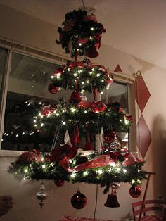 Hanging Christmas Tree with wreaths, the cars may not get this