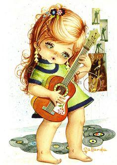 70's Vintage Big Eyed Girl Playing the Guitar by Gallarda