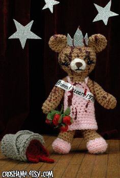 Crocheted Bloodied Carrie Bear Inspired by 1976 Horror Flick - should put this w/the m. mcc. doll!
