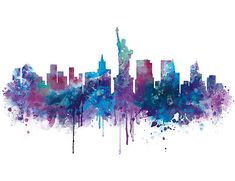 New York City's Skyline Printed Art Board. The City of New York, often called New York City (NYC) or simply New York (NY), is the most populous city in the United States. Cityscape Drawing, Skyline Painting, Cityscape Art, City Skyline Art, Nyc Skyline, New York Canvas, New York Art, New York Skyline Silhouette, New York Cityscape
