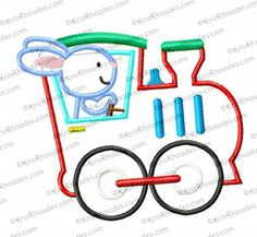 Bunny Train Applique Embroidery Design