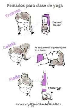 humor y yoga en español, peinados yoga