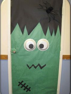 Monster doors for Halloween decoration at home! School Door Decorations, Halloween Door Decorations, Halloween Themes, Halloween Crafts, Holiday Crafts, Halloween Party, Holiday Ideas, Halloween House, Funny Halloween
