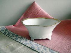Antique Open Salt Dish White Porcelain Gold Trim #Germanporcelain #saltcellar