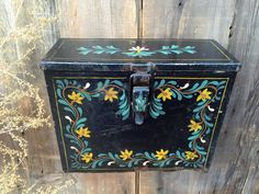 Vintage Hand Painted Iron Mailbox  Black by greatoldcountryfinds