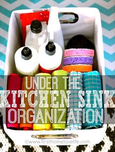 Pretty and simple ideas to tame the clutter and #organize under the kitchen sink!