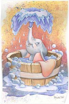 Dumbo bathing Poster
