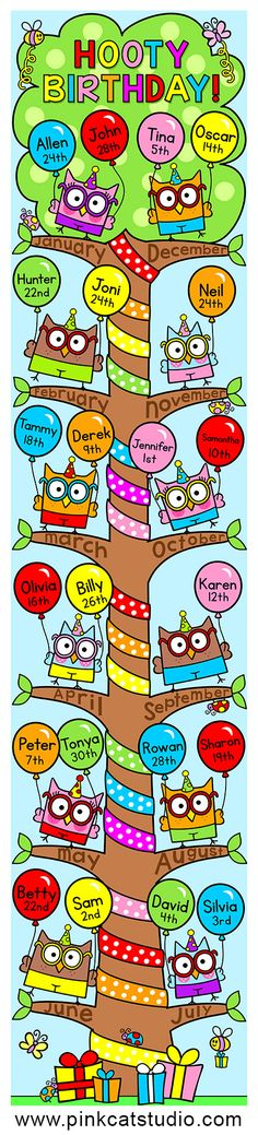 This adorable owl theme birthday board will look fantastic on your first grade or kindergarten classroom wall or bulletin board! Each branch of the tree represents a month of the year and balloons are used to display your students' birthdays. Owl Theme Classroom, Classroom Birthday, Birthday Wall, Classroom Walls, Birthday Board, Classroom Displays, Kindergarten Classroom, Classroom Organization, Future Classroom