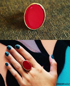 Oversized Oval Ring Simple and red! https://www.facebook.com/peppermint.jewels