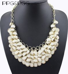 PPG&PGG White Rhinestone Statement Chain Multilayer Choker Necklaces Pendants Jewelry