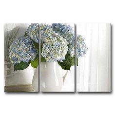 [Framed] Hydrangea Floral Vase Modern Canvas Art Prints Picture Wall Home Decor #SoCrazyArt #Modernism