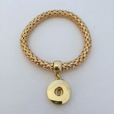 Gold Elastic Metal Single Snap Bracelet for 18-20mm Snap Charms
