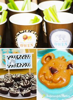 Zoo Birthday Party Food Ideas-brownie bites, cute idea add zebra stripes