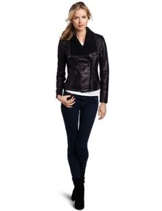 MICHAEL by Michael Kors Women's Asymetrical Leather Jacket