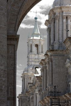 Cathedral view in Arequipa, Perú