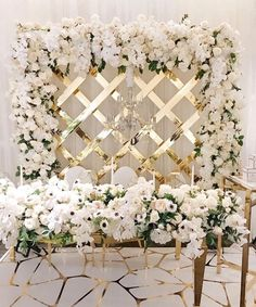 White & Metallic Gold Sweetheart table Inspiration