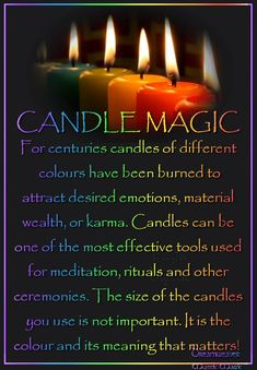 candle color meanings For centuries candles of different colours have been burned to attract desired emotions, material wealth, or karma. Candles can be one of the most effective Wiccan Spells, Candle Spells, Candle Magic, Magick, Wiccan Books, Wiccan Magic, Healing Spells, Consejos Feng Shui, Color Meanings
