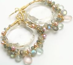 Clear Quartz Gem Wrapped Frame Earrings Aquamarine by fussjewelry