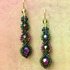 Macrame Earrings, Beaded Earrings, Beadwork, Purple and Green Seed Beads, Spiral style. $22.00, via Etsy.