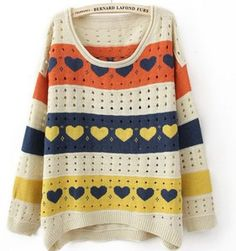 Colorful Stripes and Heart Print Curved Hem Long Sleeve Sweater pictures