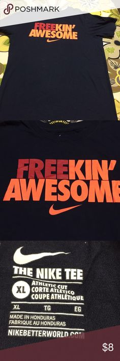 Nike tee navy youth XL Freakin' Awesome Navy tee youth size. Tee measures 17 inches across and is 23 1/2 inches long. Tee is short sleeved (al) Nike Shirts & Tops Tees - Short Sleeve