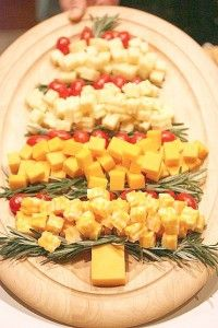 Cheese Christmas Tree -- could do this with cheese, crackers, red grapes, & green grapes